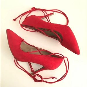 Red Lace Up Heels WIDE WIDTH